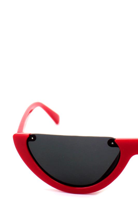 True Love Yarım Çerçeveli Siyah Camlı Cat Eye Unisex Güneş Gözlüğü Kırmızı