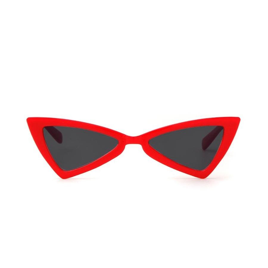 Üçgen Köşeli Bayan Güneş Gözlüğü Kırmızı