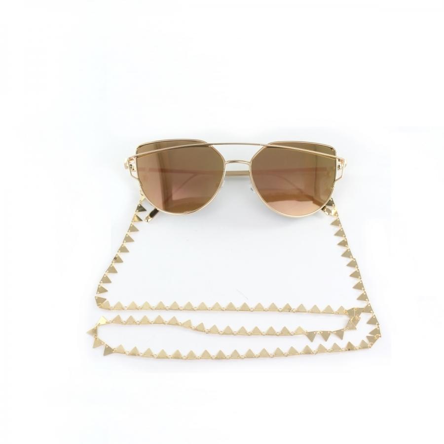 Üçgen Pullu Gözlük Zinciri Gold