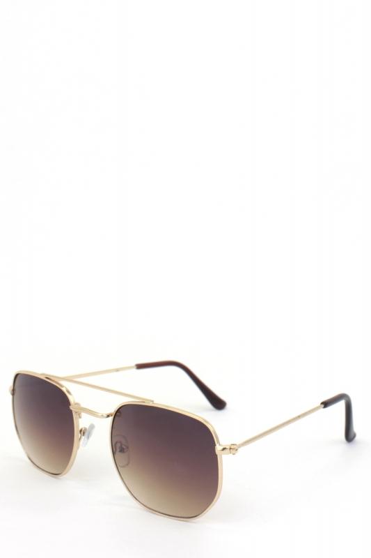 Vacation Gold Metal Çerçeveli Beşgen Bayan Küçük Güneş Gözlüğü Kahverengi