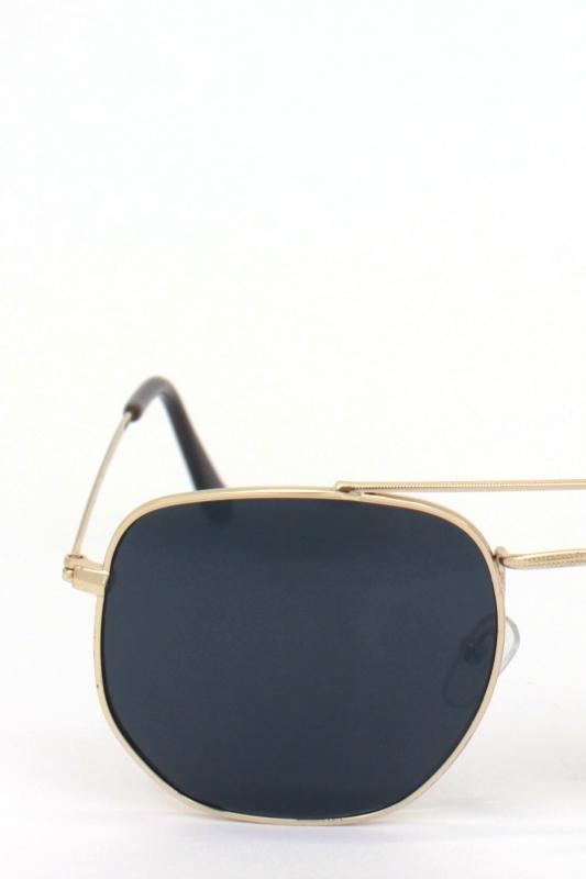 Vacation Gold Metal Çerçeveli Beşgen Bayan Küçük Güneş Gözlüğü Siyah