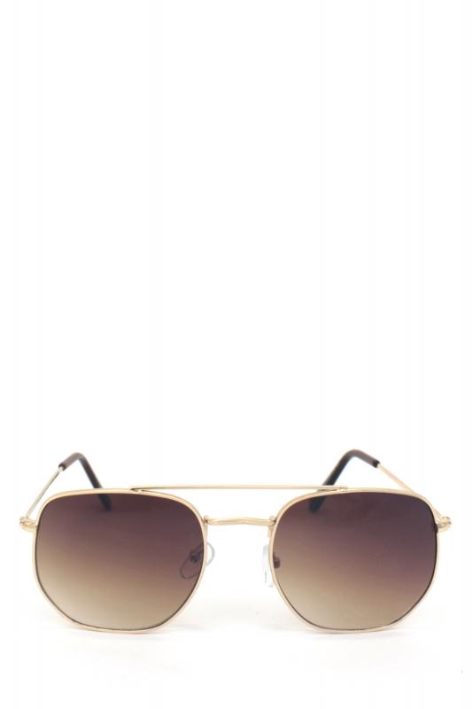 Vacation Gold Metal Çerçeveli Beşgen Erkek Küçük Güneş Gözlüğü Kahverengi