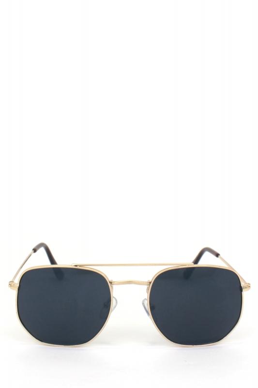 Vacation Gold Metal Çerçeveli Beşgen Erkek Küçük Güneş Gözlüğü Siyah