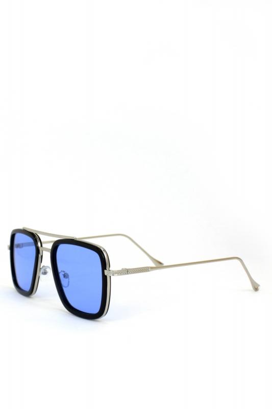 VanessaSilver Metal Çerçeveli Mavi Camlı Erkek Güneş Gözlüğü Siyah