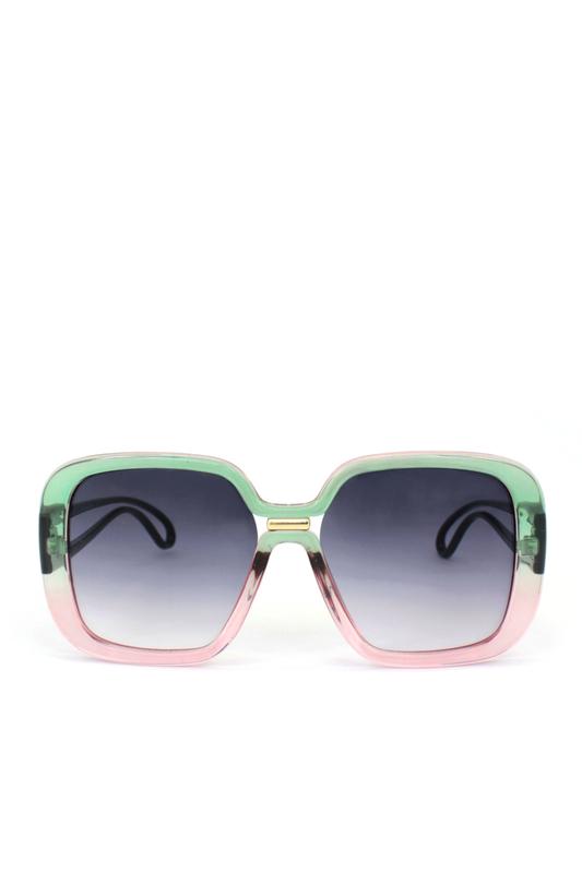 Vera Siyah Degrade Camlı Kare Köşeli Bayan Güneş Gözlüğü Pembe Yeşil