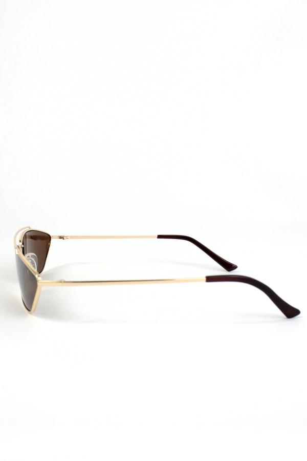 Vroom Gold Metal Çerçeveli Köprülü Küçük Güneş Gözlüğü Kahverengi