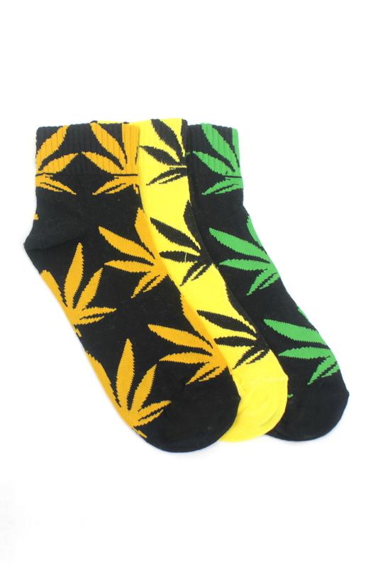 Yaprak Desenli Pamuklu Kısa Bayan Çorabı Neon Renkli 3'lü Paket
