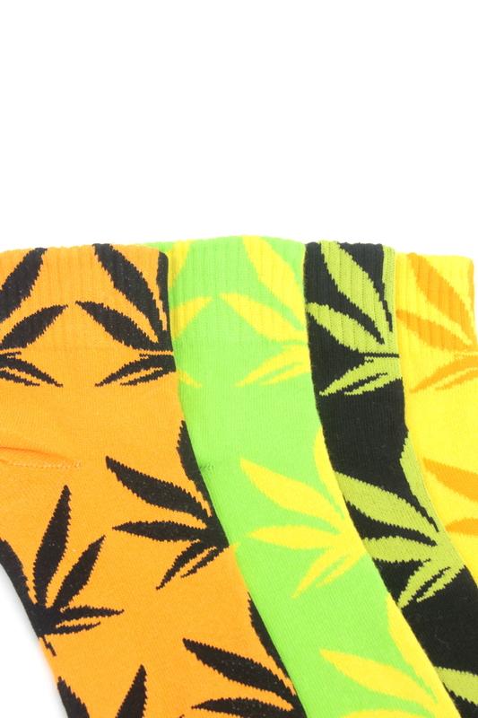 Yaprak Desenli Pamuklu Kısa Bayan Çorabı Neon Renkli 4'lü Paket