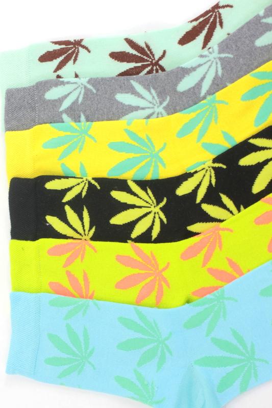 Yaprak Desenli Pamuklu Soket Bayan Çorabı Neon Renkli 6′lı Paket