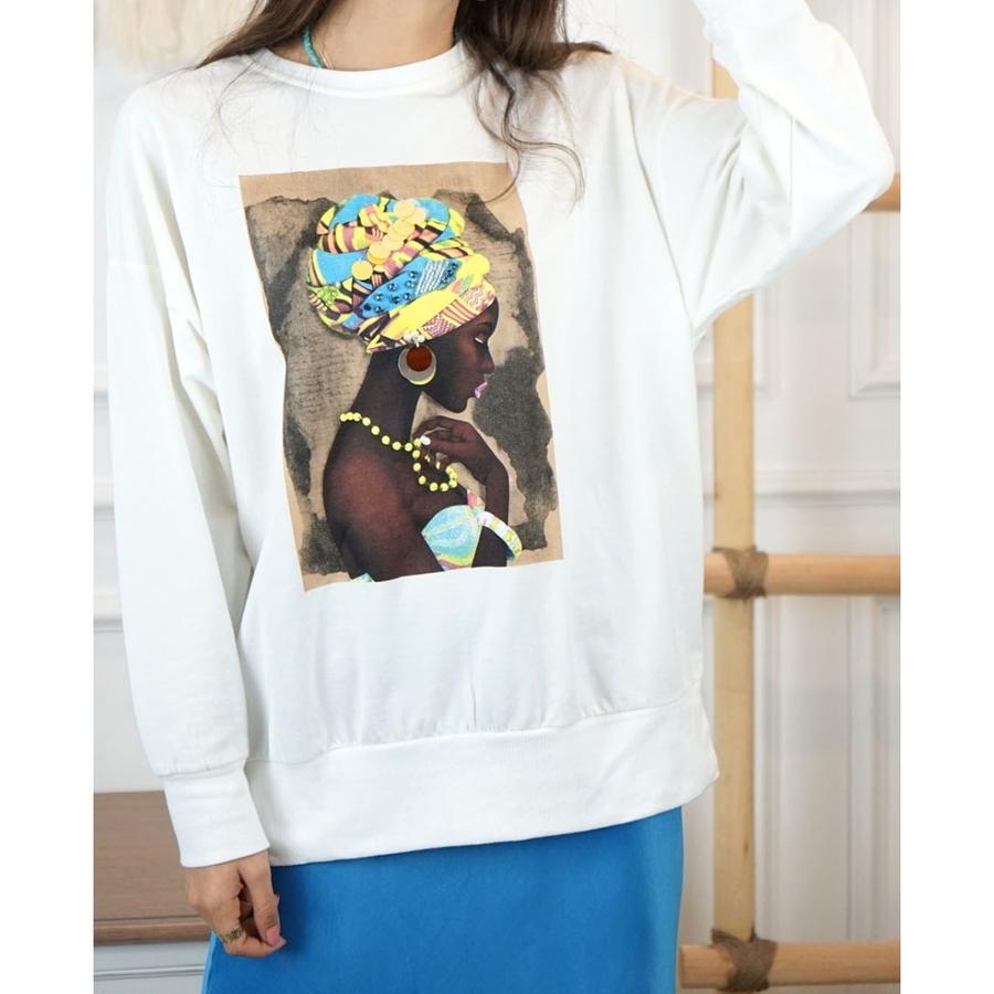 Zenci Kadın Figürlü Boncuklu Sweatshirt Beyaz